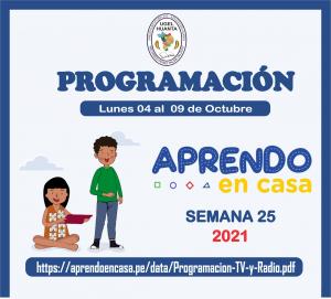 PROGRAMACIÓN DE APRENDO EN CASA DEL 04 AL 09 DE OCTUBRE 2021