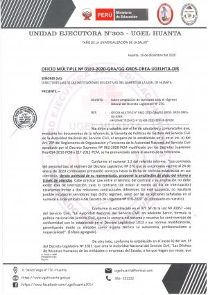 OFICIO MÚLTIPLE Nº 0183-2020-GRA/GG-GRDS-DREA-UGELHTA-DIR