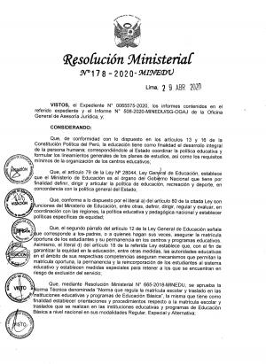 Resolución Ministerial N° 178-2020-MINEDU