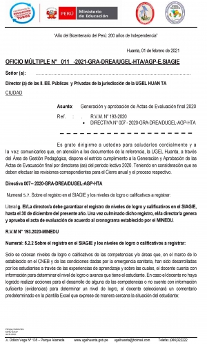 OFICIO MÚLTIPLE N° 011 -2021-GRA-DREA/UGEL-HTA/AGP-E.SIAGIE