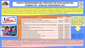 NUEVO CRONOGRAMA DEL PROCESO DE EVALUACION DEL DOMINIO DE LENGUAS ORIGINARIAS 2021