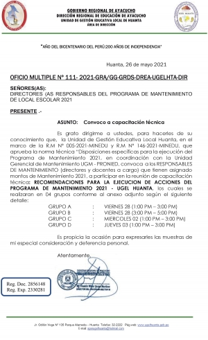 OFICIO MULTIPLE Nº 111- 2021-GRA/GG-GRDS-DREA-UGELHTA-DIR