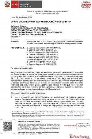 OFICIO MÚLTIPLE 00031-2020-MINEDU/VMGP-DIGEDD-DITEN
