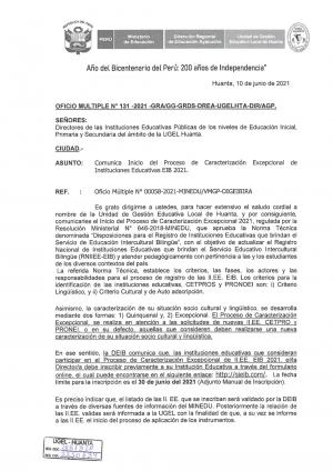 OFICIO MULTIPLE N° 131 - 2021 - GRA/GG-GRDS-DREA-UGELHTA-DIR/AGP