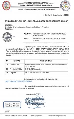 OFICIO MULTIPLE N° 237 -2021 -GRA/GG-GRDS-DREA-UGELHTA-DIR/AGP.