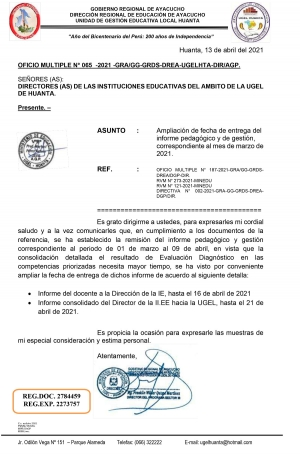 OFICIO MULTIPLE N° 065 -2021 -GRA/GG-GRDS-DREA-UGELHTA-DIR/AGP.