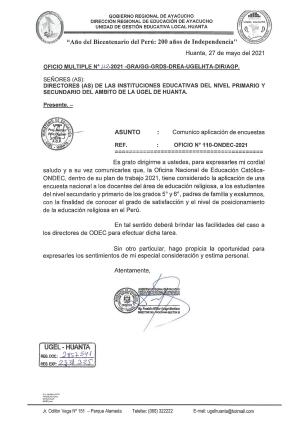 OFICIO MULTIPLE N° 112 - 2021 - GRA/GG-GRDS-DREA-UGELHTA-DIR/AGP