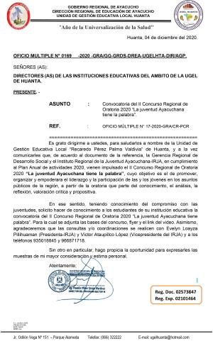 OFICIO MULTIPLE N° 0169 -2020 -GRA/GG-GRDS-DREA-UGELHTA-DIR/AGP.