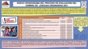 NUEVO CRONOGRAMA DEL PROCESO DE EVALUACIÓN DEL DOMINIO DE  LENGUAS ORIGINARIAS 2021