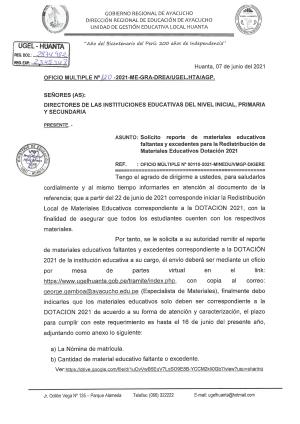 OFICIO MULTIPLE N° 120 - 2021 - GRA/GG-GRDS-DREA-UGELHTA-DIR/AGP