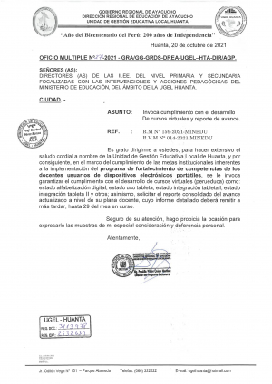OFICIO MÚLTIPLE N° 271 - 2021- GRA/GG-GRDS-DREA-UGEL-HTA/AGP