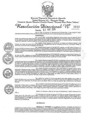 RESOLUCIÓN DIRECTORAL Nº 1833