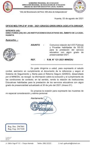 OFICIO MÚLTIPLE Nº 0189 – 2021-GRA/GG-GRDS-DREA-UGELHTA-DIR/AGP.