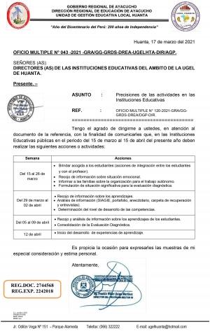 OFICIO MULTIPLE N° 043 -2021 -GRA/GG-GRDS-DREA-UGELHTA-DIR/AGP.