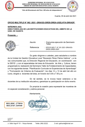 OFICIO MULTIPLE N° 062 -2021 -GRA/GG-GRDS-DREA-UGELHTA-DIR/AGP.