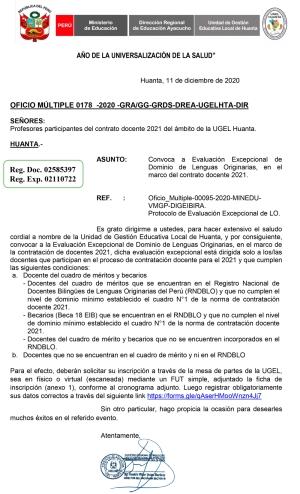 OFICIO MÚLTIPLE 0178 -2020 -GRA/GG-GRDS-DREA-UGELHTA-DIR