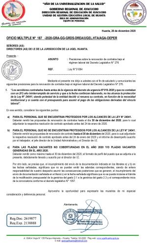 OFICIO MÚLTIPLE Nº 187 -2020-GRA-GG-GRDS-DREA/UGEL.HTA/AGA-OEPER