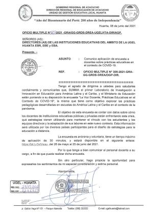 OFICIO MULTIPLE N° 123 - 2021 - GRA/GG-GRDS-DREA-UGELHTA-DIR/AGP