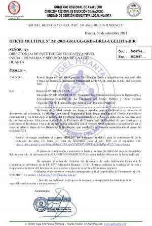 OFICIO MULTIPLE N° 241-2021-GRA/GG-GRDS-DREA-UGELHTA-DIR