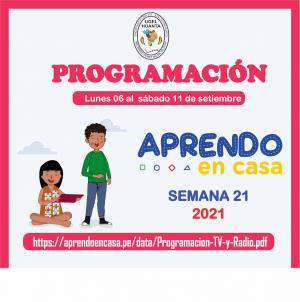 PROGRAMACIÓN DE APRENDO EN CASA DEL 06 AL 11 DE SETIEMBRE 2021