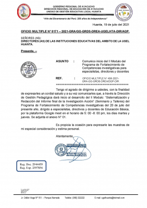 OFICIO MULTIPLE Nº 0171 – 2021-GRA/GG-GRDS-DREA-UGELHTA-DIR/AGP