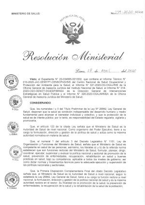 Resolución Ministerial Nº 239-2020-MINSA