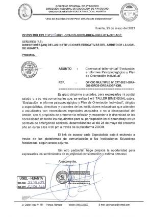 OFICIO MULTIPLE N° 108 -2021 -GRA/GG-GRDS-DREA-UGELHTA-DIR/AGP