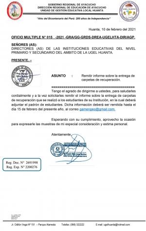 OFICIO MULTIPLE N° 015 -2021 -GRA/GG-GRDS-DREA-UGELHTA-DIR/AGP.