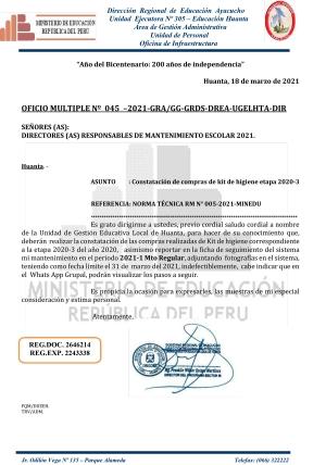 OFICIO MULTIPLE Nº 045 –2021-GRA/GG-GRDS-DREA-UGELHTA-DIR