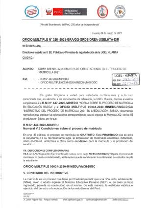 OFICIO MULTIPLE Nº 026-2021-GRA/GG-GRDS-DREA-UGELHTA-DIR
