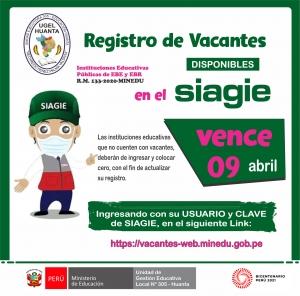 REGISTRO DE VACANTES DISPONIBLES EN EL SIAGIE VENCE 9 ABRIL