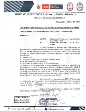 OFICIO MULTIPLE Nº 022-2020-GRA-DREA/UGEL/ADM-OPER-HTA-OHB