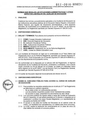 NORMAS QUE REGULAN LAS FUNCIONES DEL AUXILIAR DE EDUCACIÓN