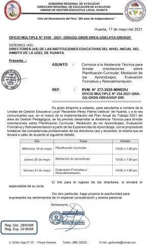 OFICIO MULTIPLE N° 0100 -2021 -GRA/GG-GRDS-DREA-UGELHTA-DIR/AGP.
