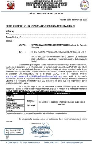 OFICIO MÚLTIPLE N° 184 -2020-GRA/GG-GRDS-DREA-UGELHTA-DIR/AGI