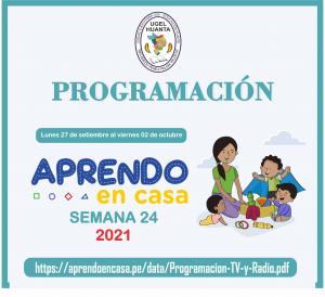 PROGRAMACIÓN DE APRENDO EN CASA DEL 27 SETIEMBRE AL 02 OCTUBRE 2021