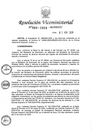 Resolución Viceministerial Nº 088-2020 - MINEDU
