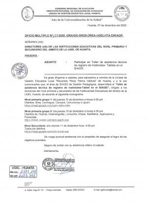OFICIO MULTIPLE Nº 0173-2020-GRA/GG-GRDS-DREA-UGELHTA-DIR/AGP