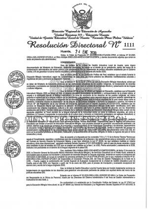 RESOLUCIÓN DIRECTORAL Nº 1111