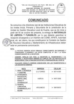 ENTREGA DE MATERIALES DE LIMPIEZA Y FUNGIBLES
