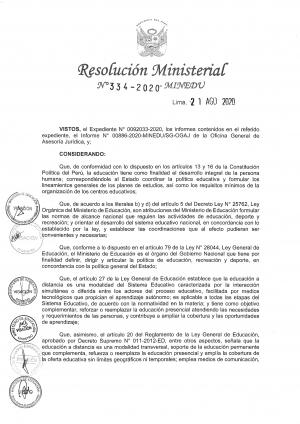 Resolución Ministerial Nº 334-2020-MINEDU