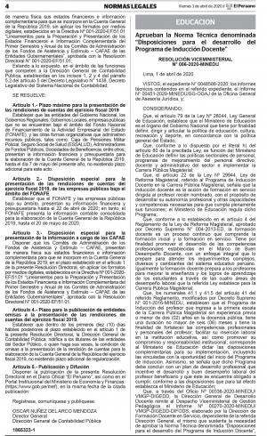 Disposiciones para el desarrollo del Programa de Inducción Docente