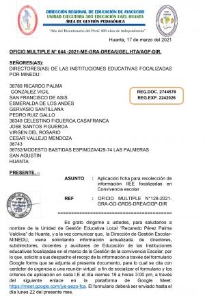 OFICIO MULTIPLE N° 044 -2021-ME-GRA-DREA/UGEL.HTA/AGP-DIR.