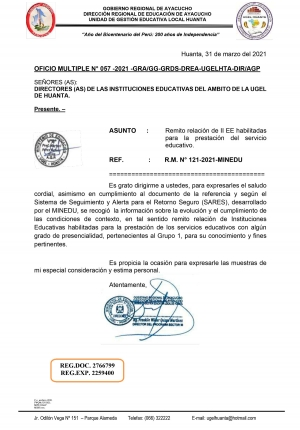 OFICIO MULTIPLE N° 057 -2021 -GRA/GG-GRDS-DREA-UGELHTA-DIR/AGP