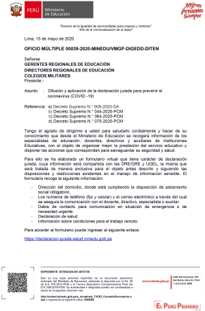 OFICIO MÚLTIPLE 00039-2020-MINEDU/VMGP-DIGEDD-DITEN