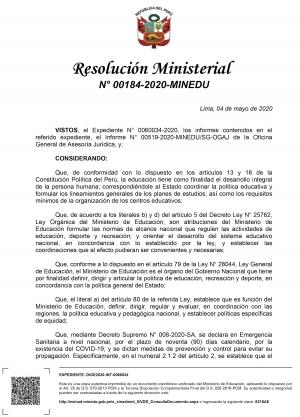 Resolución Ministerial N° 0184-2020-MINEDU