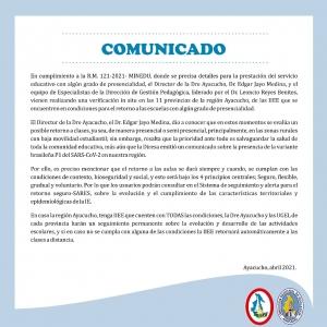 DETALLES PARA LA PRESTACION DEL SERVICIO EDUCATIVO EN GRADO DE PRESENCIALIDAD