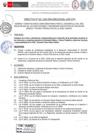 DIRECTIVA Nº 002 -2020-GRA-DREA/DUGEL-AGP-HTA.