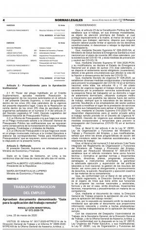 Resolución Ministerial N° 072-2020-TR