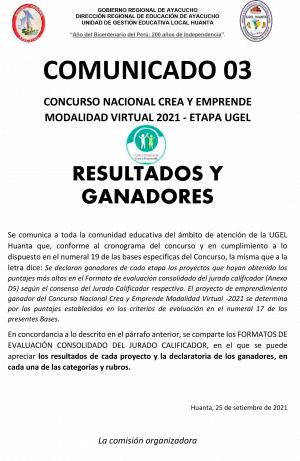 RESULTADOS Y GANADORES CONCURSO NACIONAL CREA Y EMPRENDE MODALIDAD VIRTUAL 2021 - ETAPA UGEL